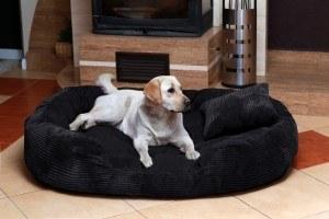 Luxus Hundebett Ph7-AC-03 PHILIP BIG Hundesofa Hundebett Gr. XXXXL 2,2 Meter 220cm CORD Velours Schwarz Dogge
