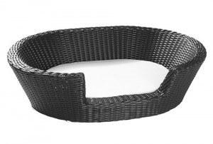 Rattan Hundekorb Hundekörbchen Hundebett schwarz oval